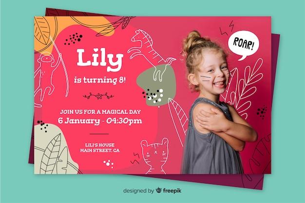 Zaproszenie na urodziny dla dzieci z szablonem obrazu
