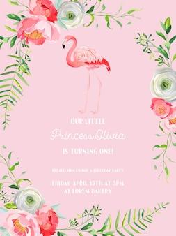Zaproszenie na urodziny dziecka z ilustracją pięknego flaminga i kwiatów, zapowiedź przyjazdu, pozdrowienia w wektorze