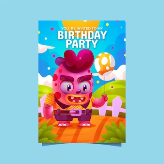 Zaproszenie na urodziny kreskówka potwory monster