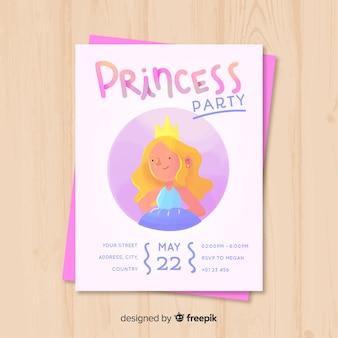 Zaproszenie na urodziny księżniczki akwarela