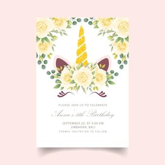 Zaproszenie na urodziny kwiatów dla dzieci z uroczym jednorożcem