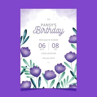 Zaproszenie na urodziny kwiatowy szablon projektu