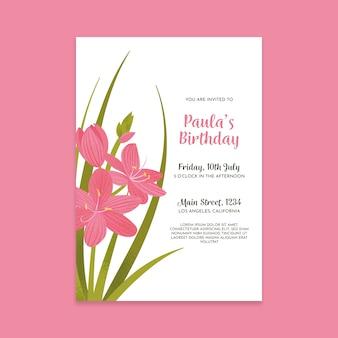 Zaproszenie na urodziny kwiatowy szablon szablonu