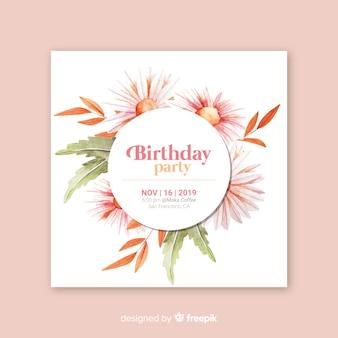 Zaproszenie na urodziny kwiatowy szablon
