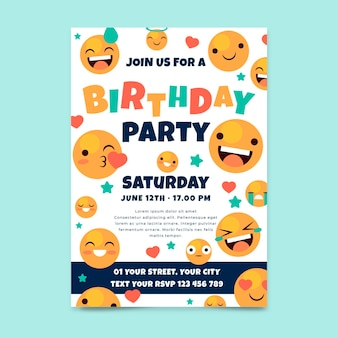 Zaproszenie na urodziny płaskie emoji