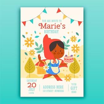 Zaproszenie na urodziny płaskie mały czerwony kapturek