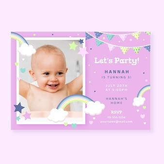 Zaproszenie na urodziny płaskie tęczy ze zdjęciem