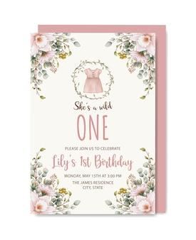 Zaproszenie na urodziny rustykalne botaniczne dla dziewczynki