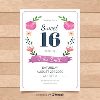 Zaproszenie na urodziny słodycze szesnaście