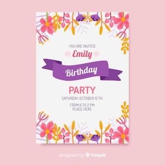 Zaproszenie na urodziny szablon kwiatowy