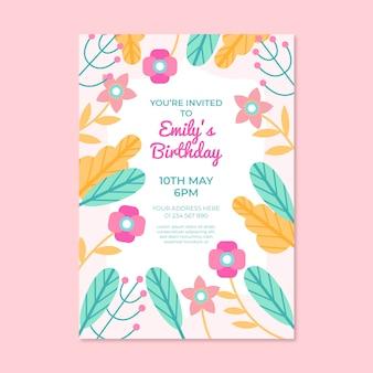 Zaproszenie na urodziny w kwiatowy wzór