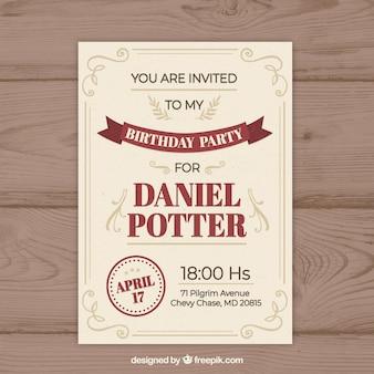 Zaproszenie na urodziny w stylu vintage