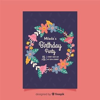 Zaproszenie na urodziny z kwiatowym wzorem