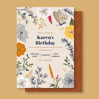 Zaproszenie na urodziny z kwiatowymi ornamentami