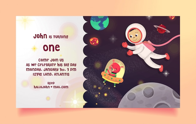 Zaproszenie na urodziny z motywem kosmicznym, astronauta i niedźwiedź za darmo