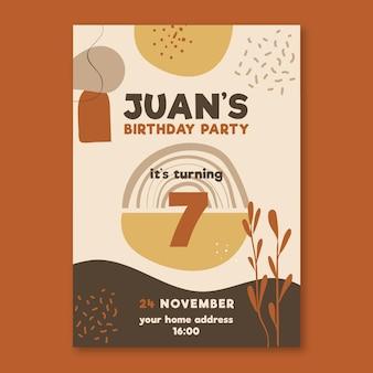 Zaproszenie na urodziny z ozdobami natury