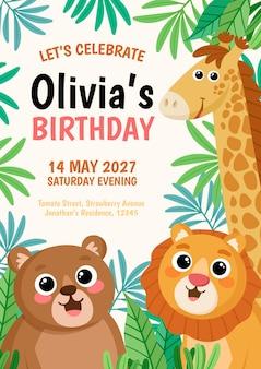 Zaproszenie na urodziny zwierząt kreskówek