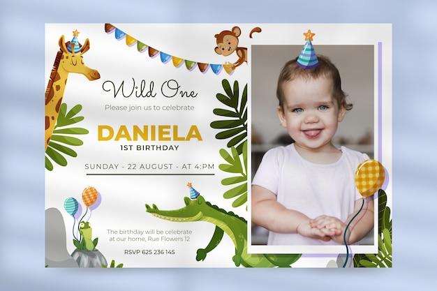 Zaproszenie na urodziny zwierząt kreskówki ze zdjęciem