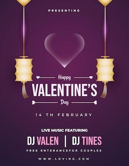 Zaproszenie na walentynkową imprezę muzyczną, ulotka lub plakat z wiszącymi złotymi lampionami i bąbelkowym sercem