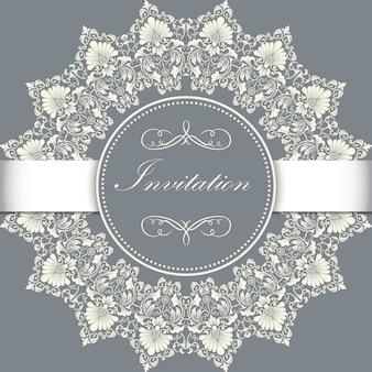 Zaproszenie na wesel i kartkę z ozdobnymi koronkami okrągłymi z elementami arabeskimi. styl mehndi. orient tradycyjny ornament. zentangle-jak okrągły kolorowy ornament kwiatowy.