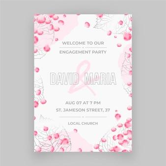 Zaproszenie na zaręczyny z ornamentami roślinnymi