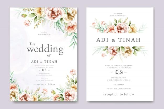 Zaproszenie ślubne akwarela ramka kwiatowy