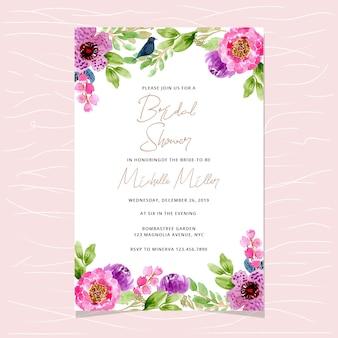 Zaproszenie ślubne dla nowożeńców z kwiatów tle akwarela