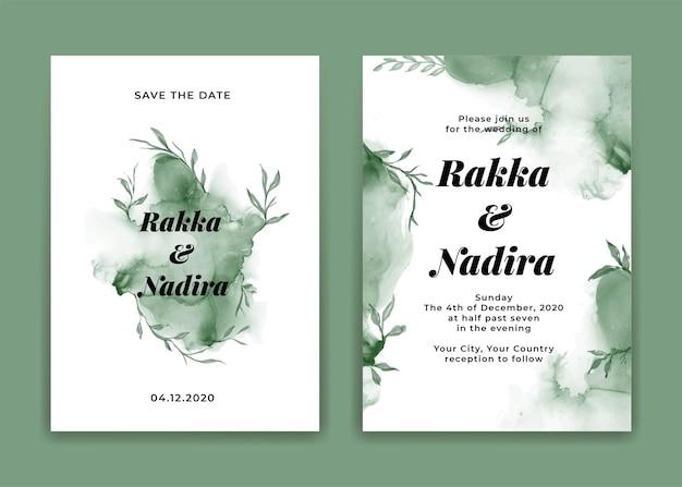 Zaproszenie ślubne eleganckie z splash streszczenie liście zielony