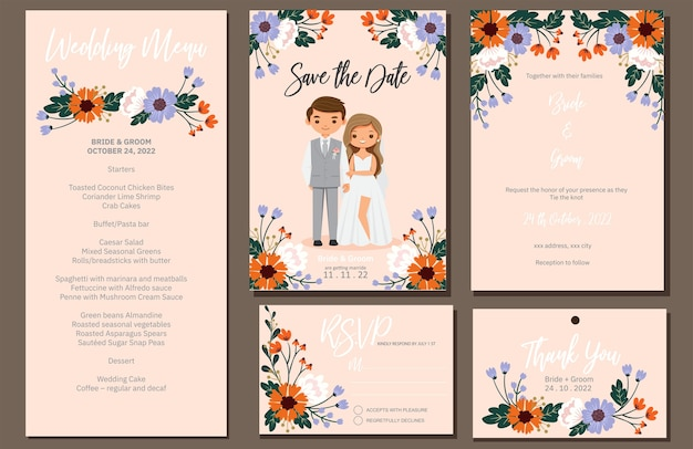 Zaproszenie ślubne, menu, rsvp, etykieta z podziękowaniami zapisz kartę z datą