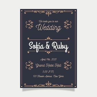 Zaproszenie ślubne szablon retro
