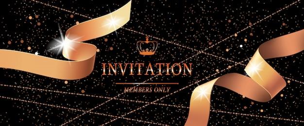 Zaproszenie szablon karty vip z koroną i zwinięte wstążki