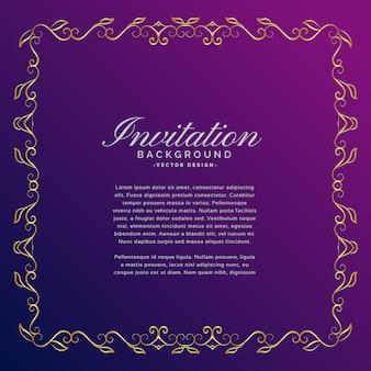 Zaproszenie tło ze złotą obwódką
