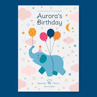 Zaproszenie urodzinowe dla dzieci ekologicznych płaskich