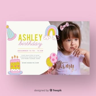 Zaproszenie urodzinowe szablon dzieci z obrazem