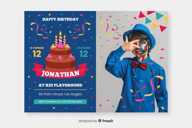 Zaproszenie urodzinowe szablon dzieci ze zdjęciem