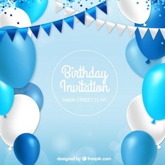 Zaproszenie urodzinowe z niebieskimi balonami