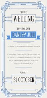Zaproszenie w doskonałej jakości w stylu art deco lub nouveau