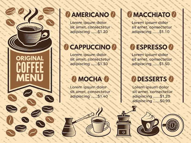 Zaproszenie w kawiarni. menu kawiarni. zdjęcia w stylu wektorowym