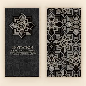 Zaproszenie z etnicznymi arabeskowymi elementami