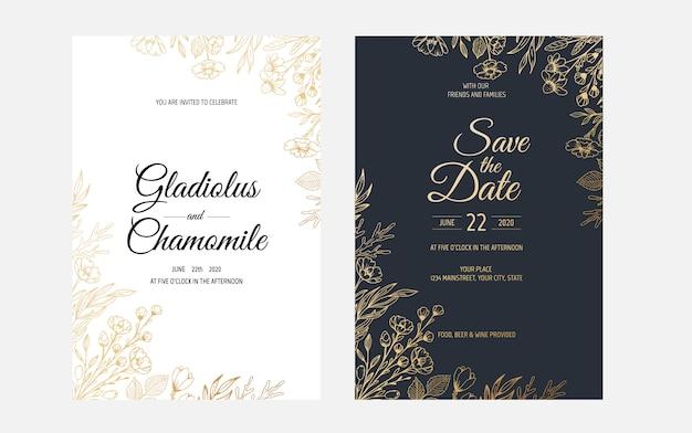 Zaproszenie ze złotymi kwiatowymi elementami. luksusowy ornament szablon. kartkę z życzeniami, zaproszenie