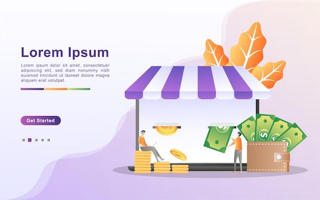 Zarabiaj pieniądze i koncepcja płatności online.