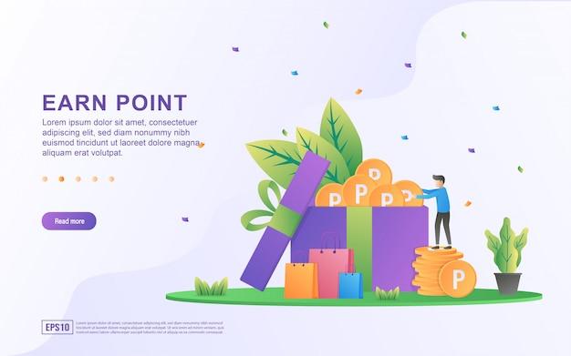 Zarabiaj punkt ilustracja koncepcja. program lojalnościowy i otrzymuj nagrody, program lojalnościowy dla klientów, zdobywaj bonusy, karty podarunkowe.