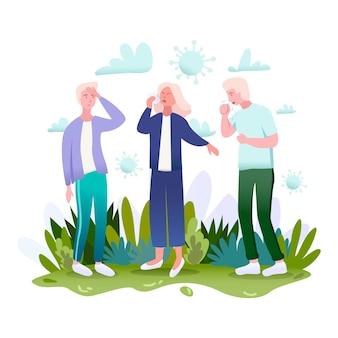 Zarażeni biedni ludzie stojący na zewnątrz z kilkoma objawami, takimi jak ból głowy, kaszel, kichanie, przenoszenie bakterii koronawirusa.