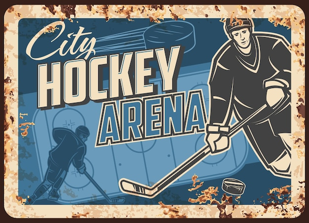 Zardzewiała metalowa płyta areny zawodów hokejowych