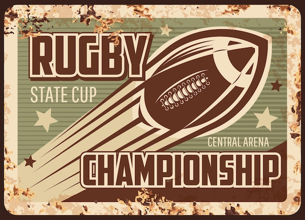 Zardzewiała metalowa płyta mistrzostw rugby
