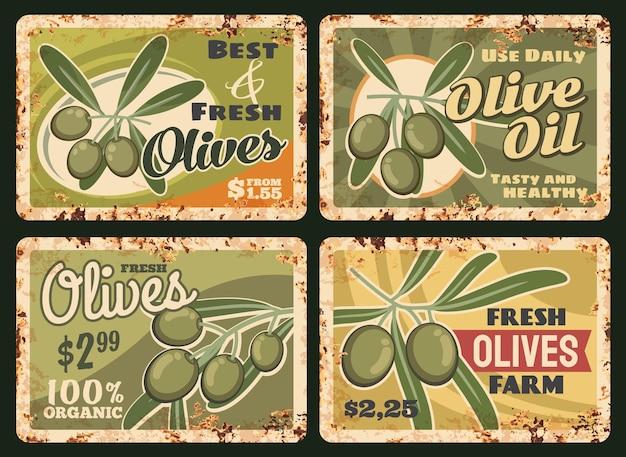 Zardzewiała metalowa płyta z oliwy z oliwek z gospodarstwa ekologicznego