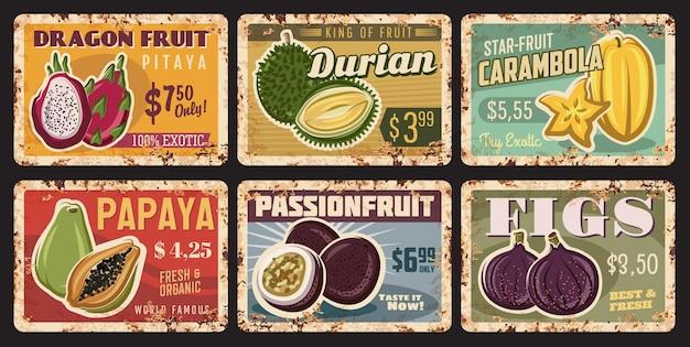 Zardzewiałe metalowe talerze z owoców tropikalnych, blaszane plakietki w stylu vintage rdzy
