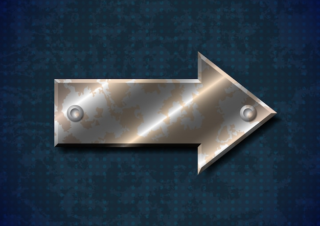 Zardzewiały metal strzałka z nitami na tle nieczysty