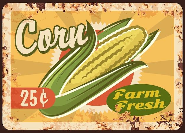 Zardzewiały metalowy talerz kukurydzy świeży produkt rolniczy vintage rdza blaszany znak