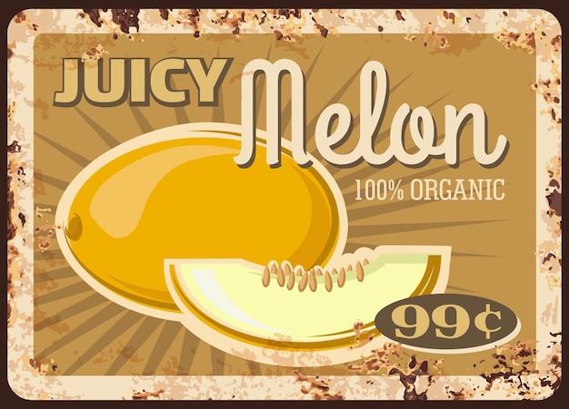 Zardzewiały talerz z owocami melona, cena rynkowa żywności lub plakat retro